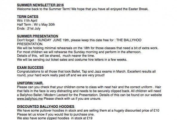 Ballyhoo Newsletter April 16